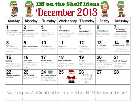 free printable elf on the shelf calendar printable elf on the shelf calendar of ideas
