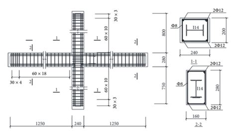 cross section of beam cross section and distributed steel of beam column assemblies