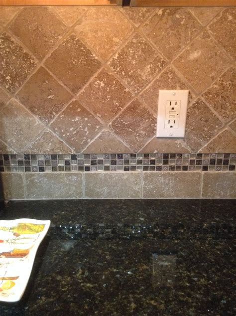 tile accents for kitchen backsplash new travertine tile backsplash with glass mosaic accent home ideas
