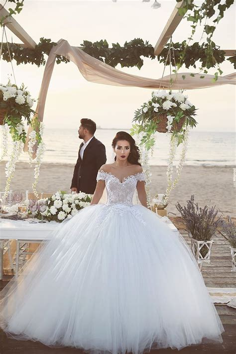 Delicate Tulle Lace Appliques 2016 Wedding Dress Off the shoulder Ball Gown   Products   27DRESS.COM