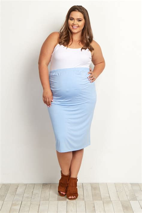 light blue fitted maternity pencil skirt