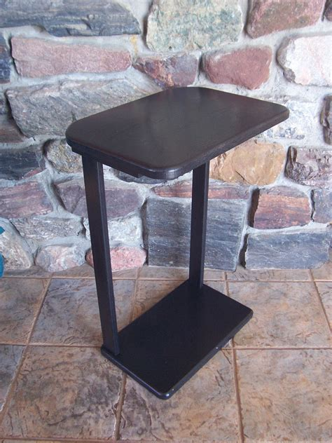 Sofa Snack Table Black Wood Snack Sofa Accent Table Large Top By Woodupnorth