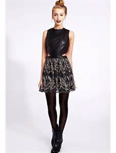 dress black faux leather dress black tights little