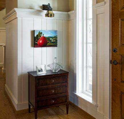 Wide Wainscoting by Beadboard With Crown Moulding Nantucket Home Entry Way