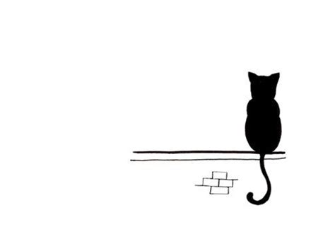 Cats Sitting On A Fence Wishing Iphone Semua Hp cat drawing simple black and white print sitting and waiting cat drawing cat and printing