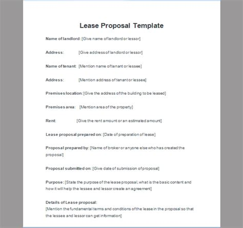lease proposal template of lease proposal sle templates