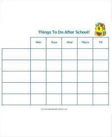 Printable School Template 5 after school schedule templates 5 free word pdf