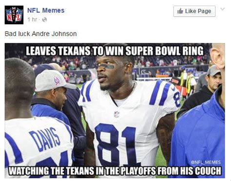 Texans Memes - week 17 nfl memes not kind to ex texans star andre johnson