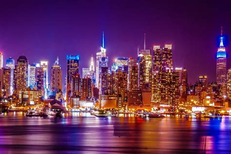 new york lighting new york ny new york city hudson river lights landscape poster