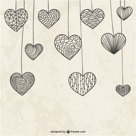 doodle hearts hanging doodle hearts vector free