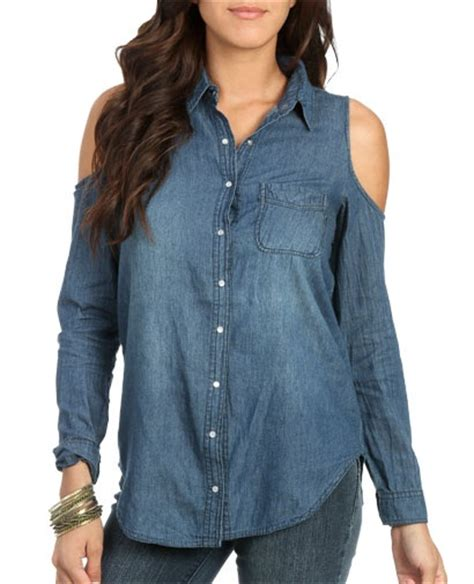 Cold Shoulder Denim Top cold shoulder denim shirt tops my style
