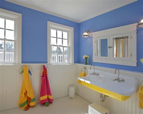 blue and yellow bathroom with kid friendly hangers beautiful homes design