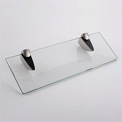 Glass Shelf Brackets Brushed Nickel by 14 Quot Bathroom Tempered Glass Shelf 8mm Thick Wall Mount