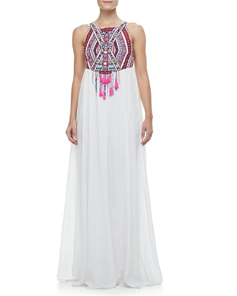 embroidered maxi dress mara hoffman embroidered maxi dress in white lyst