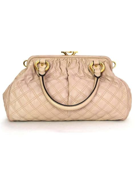 Marc Quilted Fabric Stam Bag by Marc Blush Quilted Leather Stam Bag Ghw For Sale At
