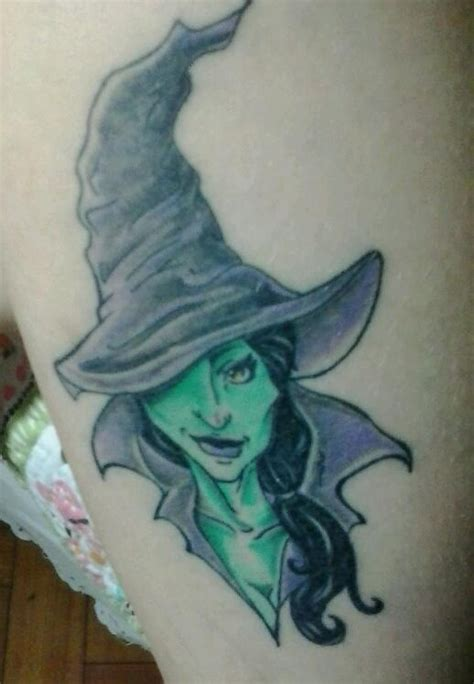 witch hat tattoo pin up witch on leg calf