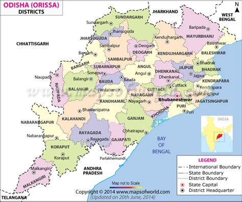 Odisha Map   Districts in Orissa
