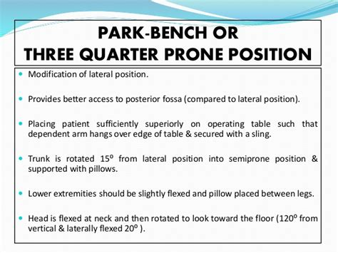 park bench position positioning in neurosurgical procedures