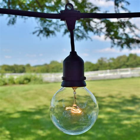 Patio Light Strands 48 Commercial Clear Globe String Light Kit Black Suspended
