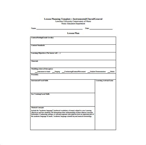 plan template pdf lesson plan template 8 free sle exle