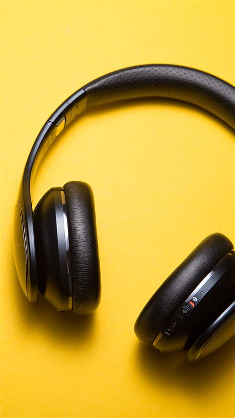 headphones yellow background  wallpaper