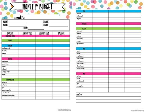 printable budget planner budget planning worksheets resultinfos