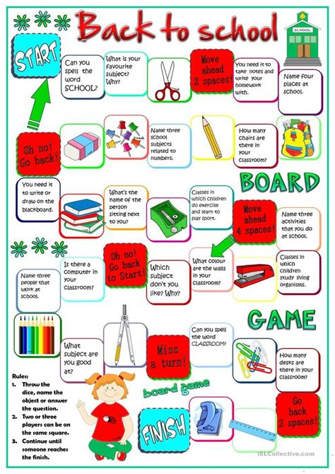 printable language board games back to school board game worksheet free esl printable