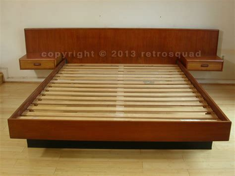 Platform Bed With Floating Nightstands Modern Teak Platform Bed Floating Nightstands 03 Retro Squad