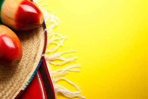Sombrero And A Mexican Blanket On Bright Yellow Background 187 High Quality Walls Mexican Themed Powerpoint Template