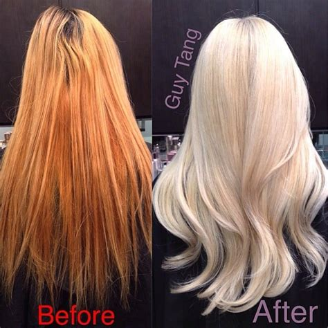 guy tang hair before and after from orange brassy hair to pearly white blonde yelp