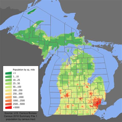 michigan state land map population census maps land academy