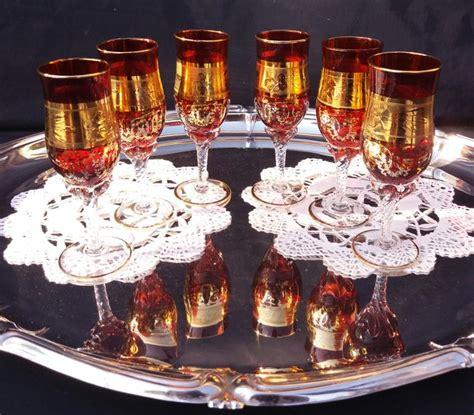 bicchieri a tulipano lotto di 6 bicchieri per liquore a forma di tulipano in