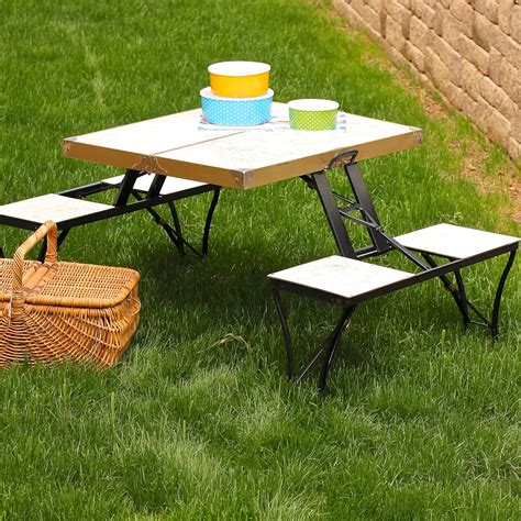 portable picnic bench small rectangle portable fold out picnic table with white wooden top and bench plus