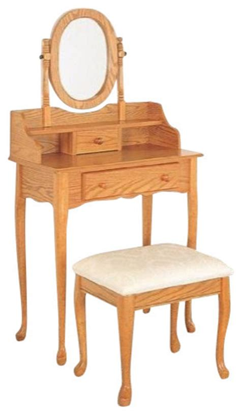 2 vanity set oak by coaster traditional