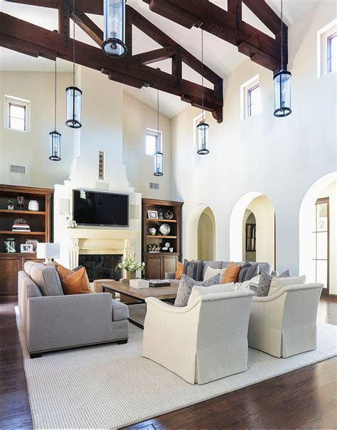 Living Room Decor High Ceilings How To Decorate A Living Room With High Ceilings Category