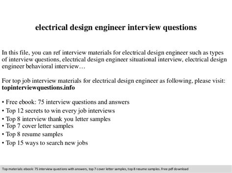 design engineer job interview questions electrical design engineer interview questions