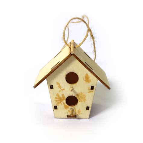mini wooden bird house decoration