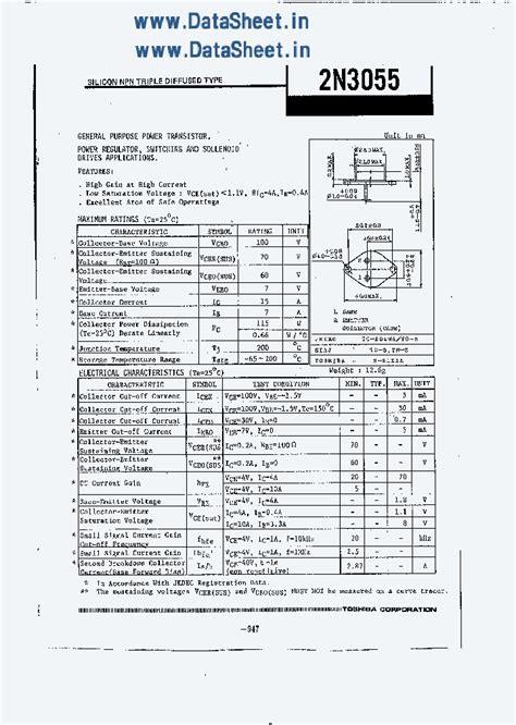 datasheet transistor 2n3055 2n3055 4112087 pdf datasheet ic on line