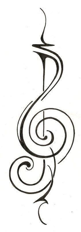 tribal music note tattoo treble clef original design nouveau