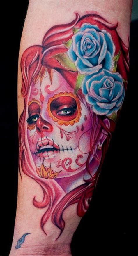 day of the dead tattoos with roses day of the dead tattoos sugar skull tattoos for