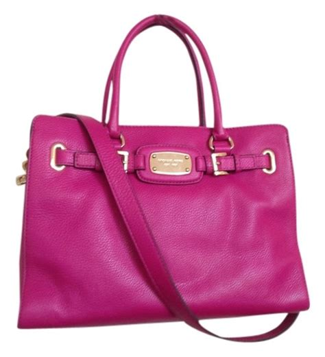 Michael Kors Plate Fuschia michael kors hamilton large ew leather fuschia tote bag on