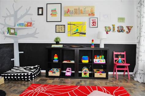 bright playroom ideas and black white color combination