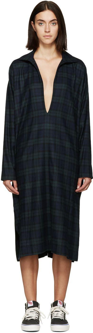 Kafka Dress 6397 blue green flannel winter kafka dress ssense