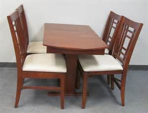Rv Dining Table And Chairs Rv Hide Leaf Dinette Table Folding Slat Storage Chairs Hardwood Stained Cherry Ebay