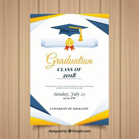 Colorful Graduation Invitation Template With Flat Design Vector Free Download Graduation Announcement Design Templates