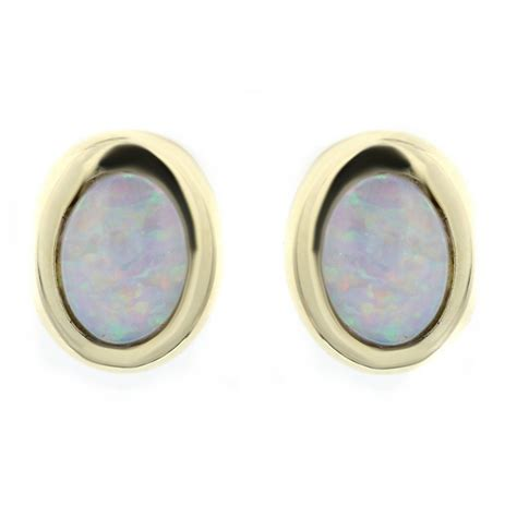 vintage deco oval gemstone opal stud earrings 925 silver 14ct yellow gold 0 99ct opal oval stud earrings