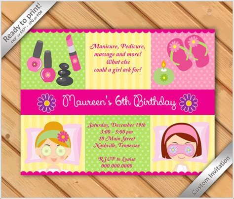 50 birthday makeover 50 off sale spa party invitations for girls makeover or