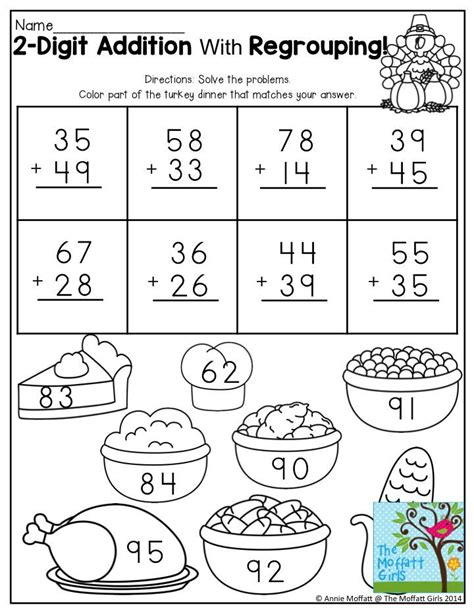 printable math worksheets thanksgiving printable thanksgiving digit addition papers