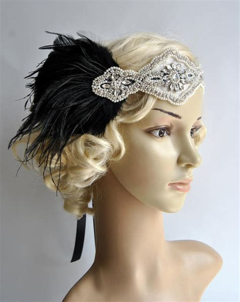 get great gatsby hair 1920s wave and headband youtube ready to ship rhinestone pearls feather flapper gatsby