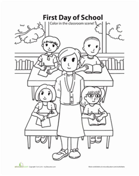 first day of school coloring worksheet education com